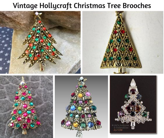 Vintage Hollycraft Christmas Tree Brooches