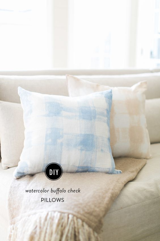 DIY Watercolor Buffalo Check Pillows