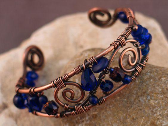 Wire Wrapped Copper and Cobalt Blue Bracelet, Evolutionary Beauty design