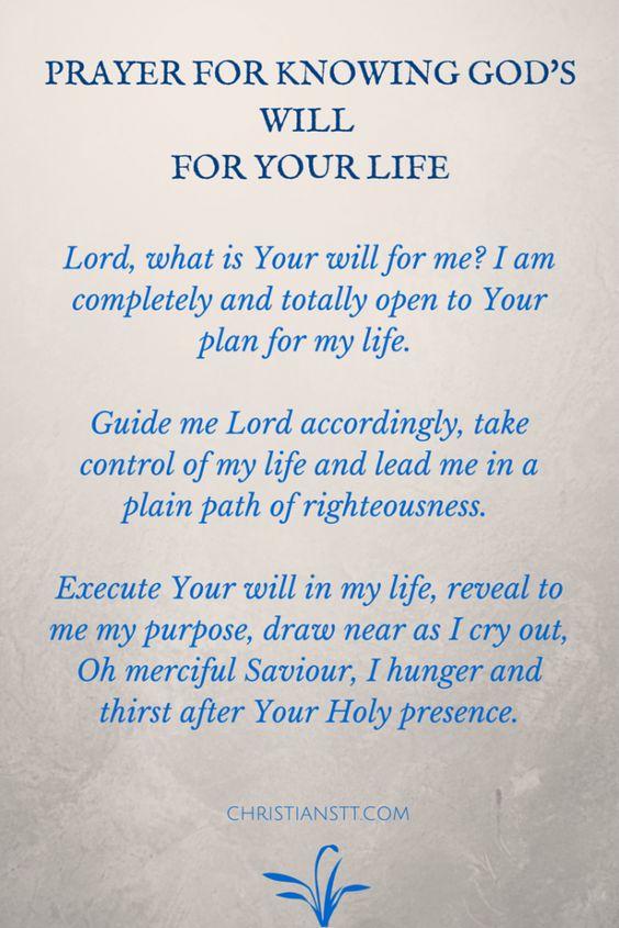 Prayer for God's will: