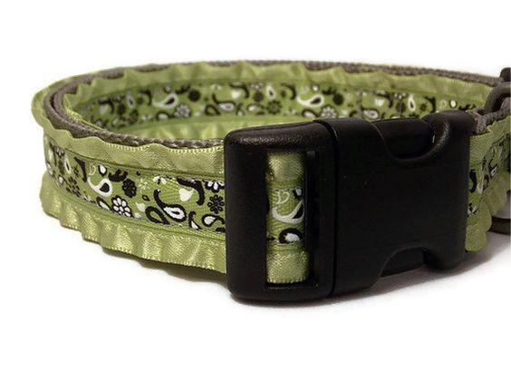 Handmade Dog Collar  Green Paisley and Ruffles  by FuzzyPawCreations, $13.26