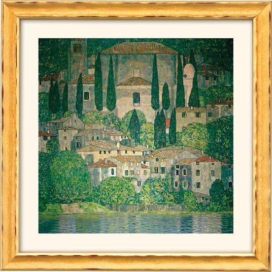 """Gustav Klimt: Bild """"Kirche in Cassone am Gardasee"""" (1913) im Rahmen"""