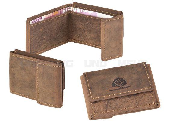 Greenburry VINTAGE - Leder Microbörse kleine Scheintasche Geldbörse XXS Portemonnaie - antikbraun 1681-25