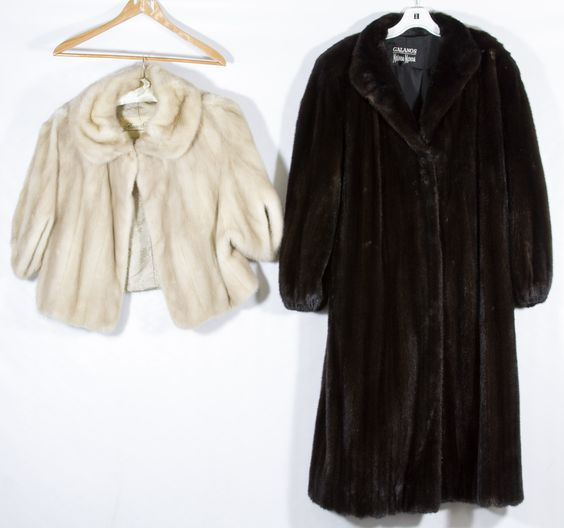 "Lot 565: Mink ""Black Onyx"" Full Length Coat; Neiman Marcus full length coat by Galanos; together with a mink muff and a short light beige mink stole with a ""Rosin-Starr"" label"
