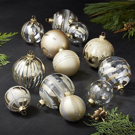 Gold Ornaments, Set of 12   Crate and Barrel