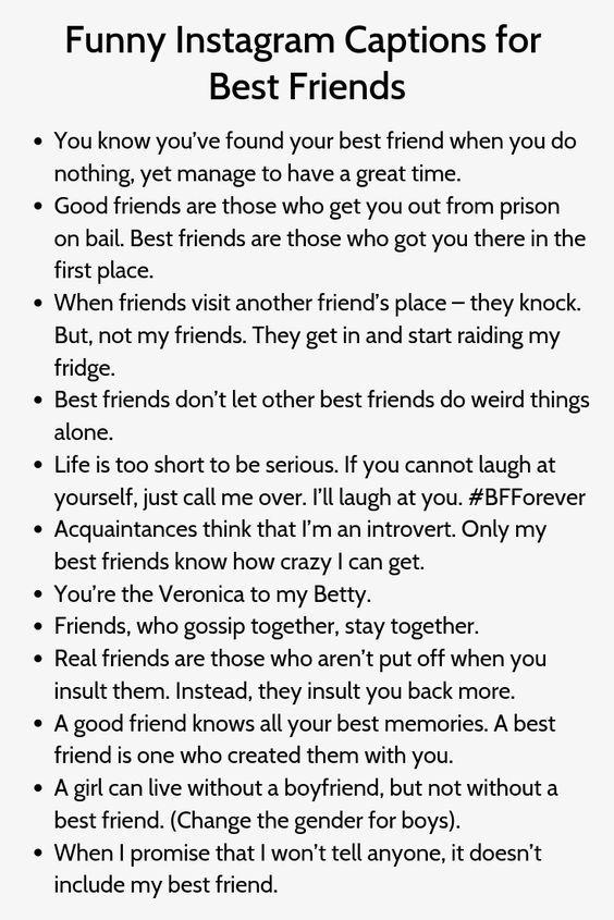Instagram Captions For Friends Best Friend Captions Funny Instagram Captions Instagram Captions