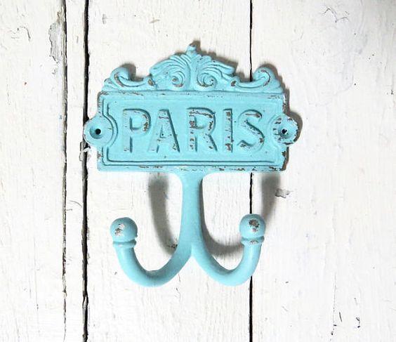 Paris Hooks Key Hooks Towel Hooks Coat Hook Aqua Blue