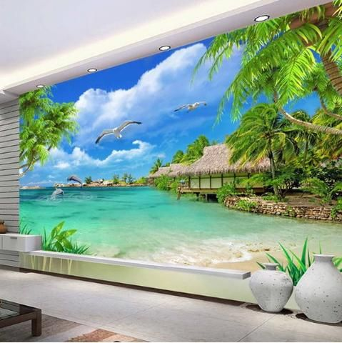 3d Beach Hut Sea View Coconut Trees Wallpaper Scenic Landscape Mural Beach Wall Murals Beach Wallpaper Beach Scene Wallpaper