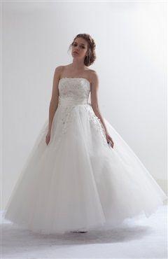 Strapless Floral Applique Ballerina Wedding Gown 258.00