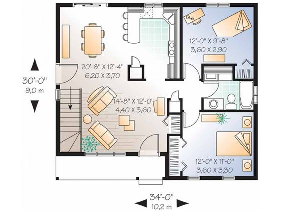 Two bedroom house  House plans design and House plans on PinterestInspiring Bedroom House Floor Plans Level View Expanded Size