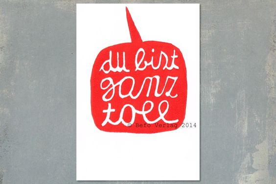 """Postkarte+""""Du+bist+ganz+toll"""",+Linoldruck+von+Befo+Shop+auf+DaWanda.com"""
