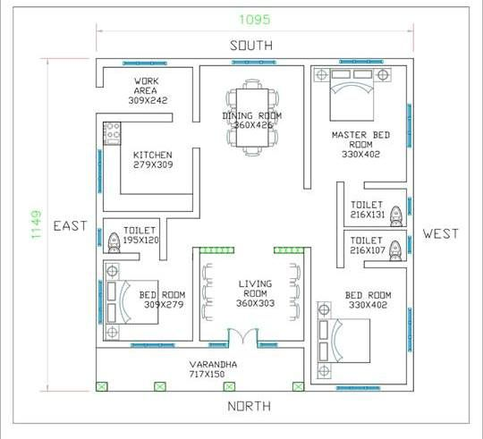 3 Bedroom Low Cost Single Floor Home Design With Free Plan Free Kerala Home Plans Low Cost House Plans Square House Plans Kerala House Design