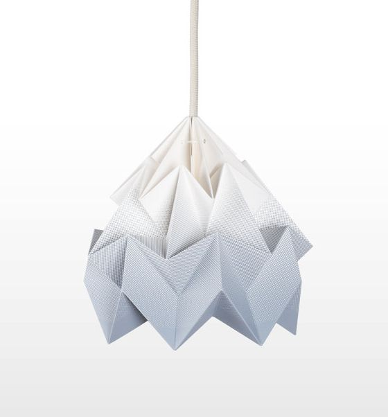 Moth Origami hanging lampshade in white/grey