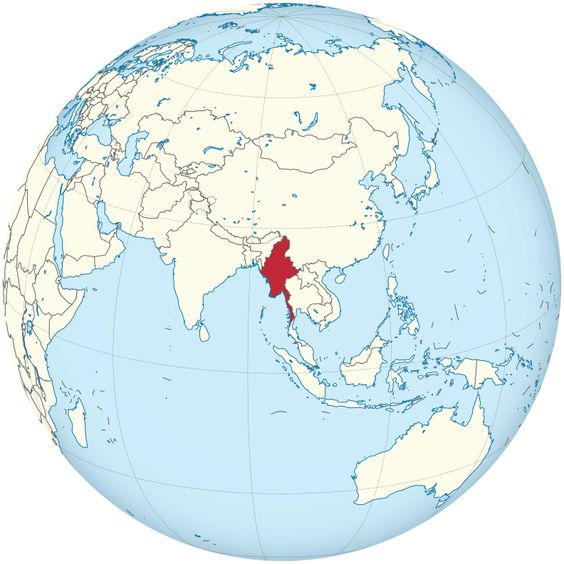 Myanmar on the globe (Myanmar centered).svg