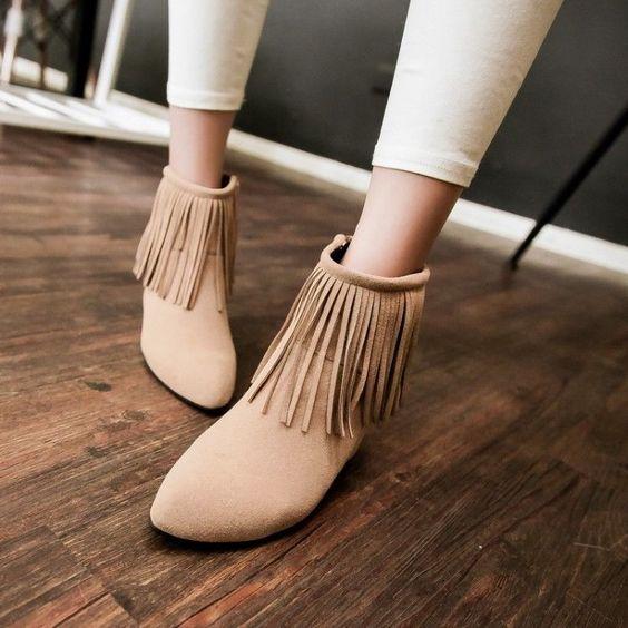 Sexy New Fashion Women's Ankle Boots Platform Wedge Fringe Tassels Fashion Boots #MadeinChina #FashionAnkle