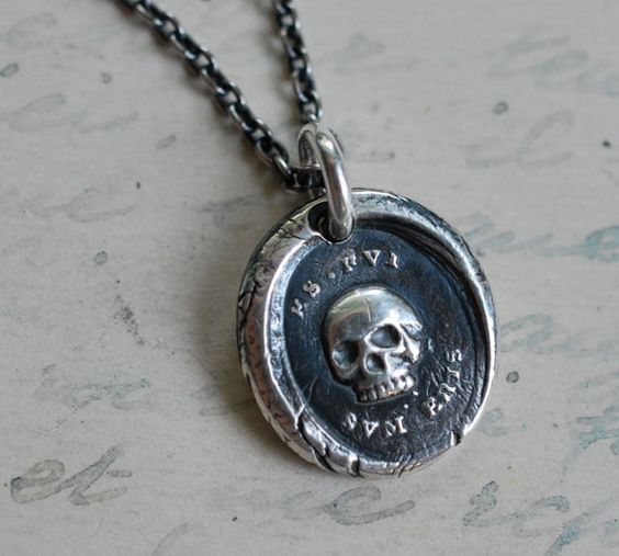 skull wax seal necklace charm... thou art as I have been... wax seal jewelry in eco friendly fine silver