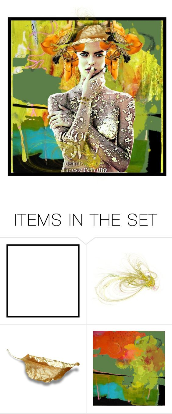 """""""Hmmmm, Gold Leaf - a New Fashion Statement!"""" by kre8in ❤ liked on Polyvore featuring art"""