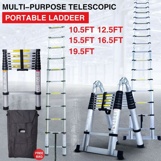 Details About Telescoping Extension Ladder Aluminum Folding Portable All Purpose Variable Step In 2020 Multi Purpose Ladder Aluminum Extension Ladder