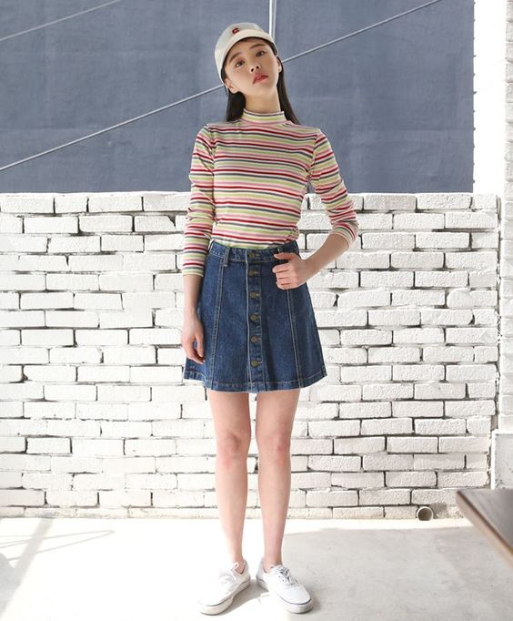 10's trendy style maker 66girls.us! Buttoned Seam Accent Denim Skirt (DGSZ) #66girls #kstyle #kfashion #koreanfashion #girlsfashion #teenagegirls #fashionablegirls #dailyoutfit #trendylook #globalshopping:
