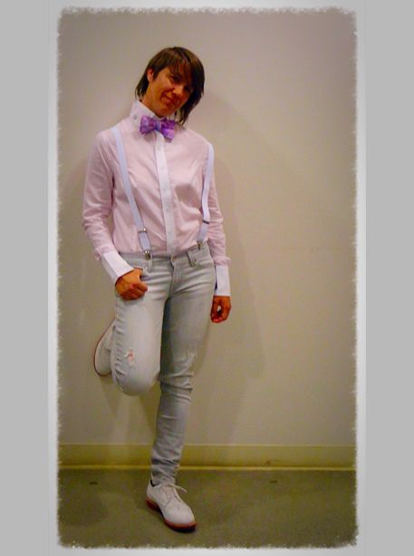 Alpha Sport Shirt Pink/White Striped, Butch Style, Tomboy fashions - HauteButch
