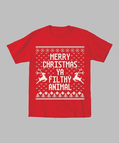 Kidteez Red 39 Merry Christmas Ya Filthy Animal 39 Tee Men