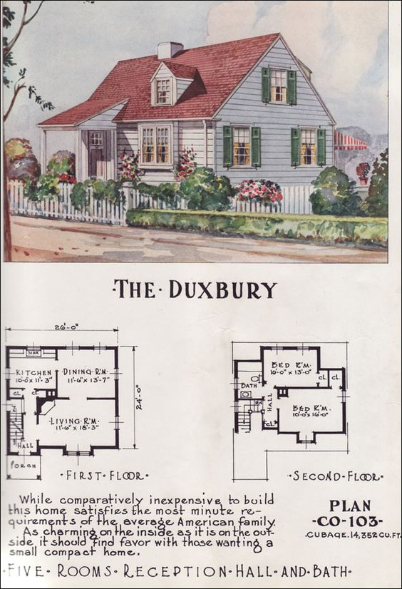 Mid Century Cottage Style Minimal Traditional - Nationwide House Plan Service - 1950s Home Design - The Duxbury: