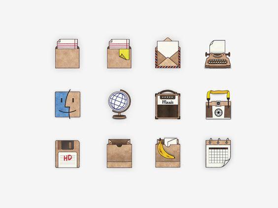 Handmade Desktop Icons by Nina Azzarello, via Behance logos - interieur trends im sommer inspiration bilder