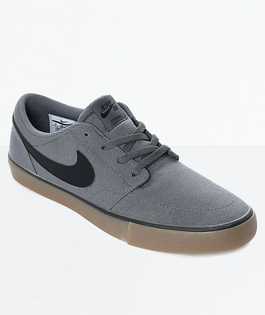 Nike SB Portmore II Dark Grey & Gum Canvas Skate Shoes   Zumiez ...