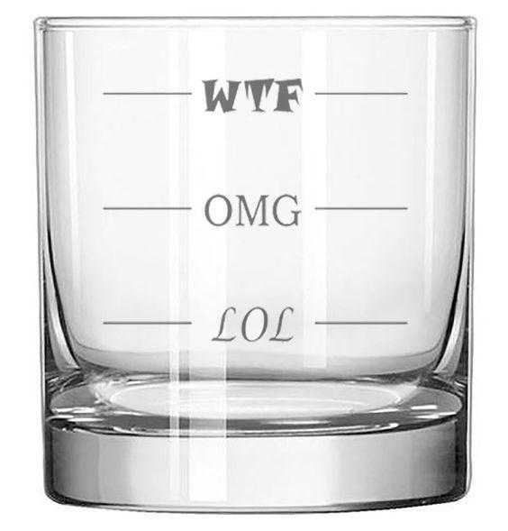 LOL-OMG-WTF Funny Rocks Glass - Finally a Rocks Glass for Every Mood! 11 oz Highball Glass: Wine Glasses $14.95