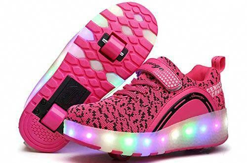 Hanglin Trade LED Light Up Shoes Colors Breathable USB Charging Flashing Sneakers for Kids Boys Girls White 3 M US Little Kid