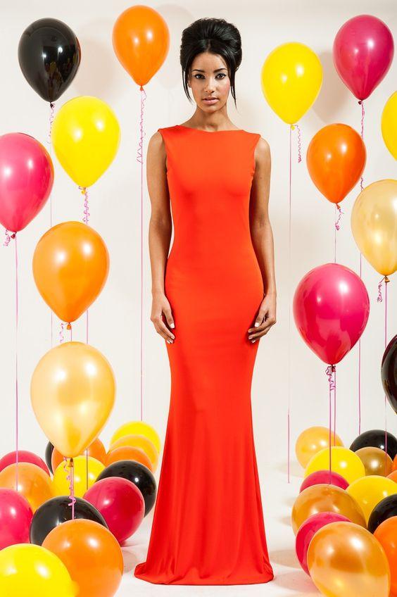 Long dress pink orange