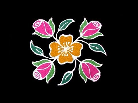 Simple Daily Kolam Designs 5x5 Dots Rose Flower Rangoli Small Easy Daily Rangoli For Beginners Y Flower Rangoli Kolam Designs Rangoli Designs With Dots
