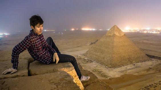 No ano passado, um grupo de turistas russos tirou fotografias das pirâmides egípcias de um ângulo pouco conhecido
