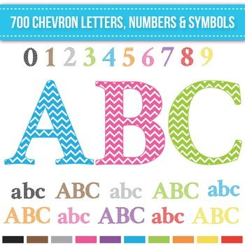 Clip Art Chevron Alphabet Letters Numbers and Symbols includes 700 pieces in…