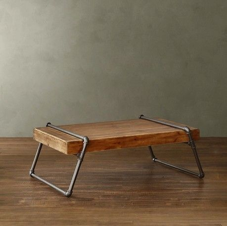 Vintage Wood Coffee Table Loft Industrial Wind Pipe A Few