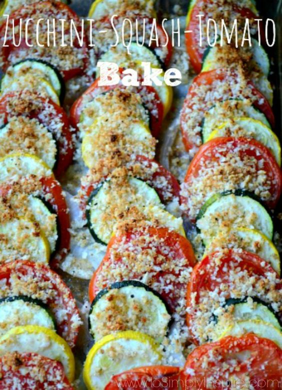"""This vegetable bake is a wonderful and """"pretty"""" clean eating recipe! Made with fresh Zucchini, Summer Squash and Tomato, it' perfect with any grilled chicken or fish."""