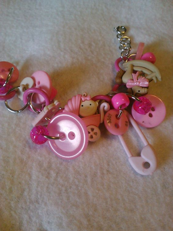 new mommy baby girl button charm bracelet by CRAZYBUTTONDESIGNS13, $12.00