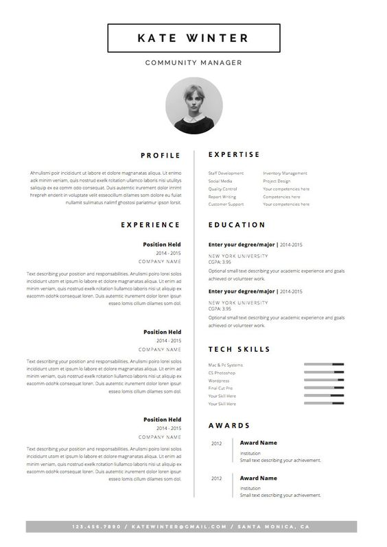 Minimalist Resume Template \ Cover Letter + Icon Set for Microsoft - microsoft word award template