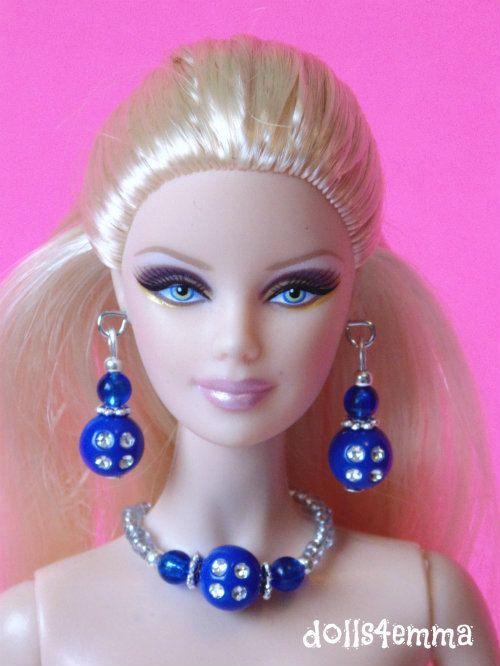 Barbie Doll sieraden - blauwe saffieren en diamanten sieraden Set past Model Muse en meer - door dolls4emma