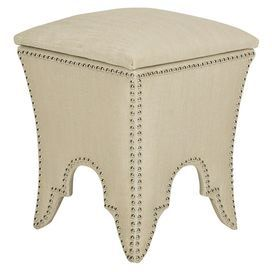 """Storage ottoman in beige.Product: Storage ottomanConstruction Material: Wood and upholsteryColor: BeigeFeatures: Nailhead detailDimensions: 22.1"""" H x 16.1"""" W x 16.1"""" D"""