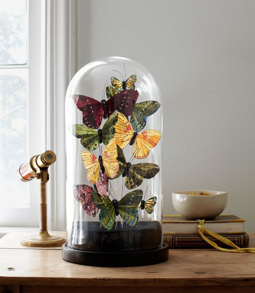 Capture a Victorian cabinet-of-curiosities vibe—minus all the hunting and gathering—with faux butterflies. #crafts #homedecorating: