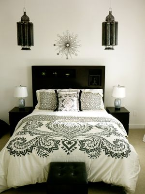 Black and White Lush Bedroom.  I love the clean black and white palette.
