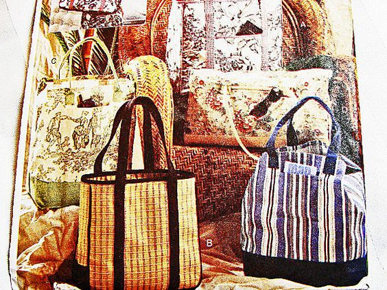 Womens Large Tote Bag Pattern Vogue UNCUT 4 Styles DIY Tote Bags Sewing Pattern view on Etsy by PatternsFromThePast