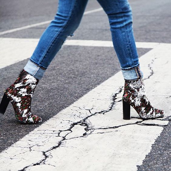 From crosswalk to catwalk. Disco Sequin Boots by Intentionally Blank, now in.:
