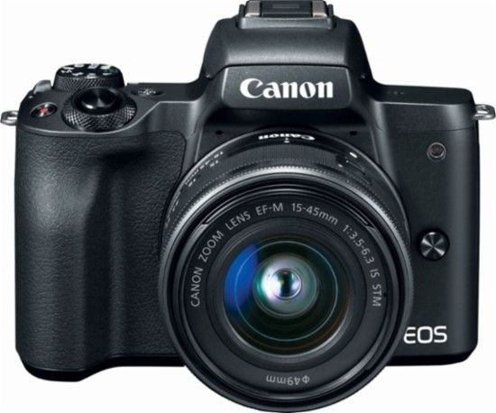 Canon Eos M50 Mirrorless Camera With Ef M 15 45mm F 3 5 6 3 Is Stm Zoom Lens Black 2680c011 Best Buy Eos M50 Canon Eos M50 Mirrorless Camera
