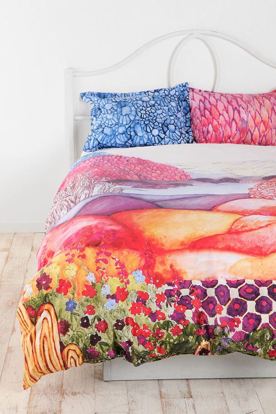 plum & bow painted hills sham - set of 2 | urban outfitters, duvet