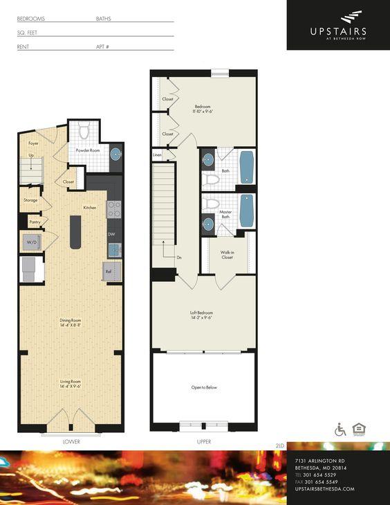 Two bedroom, two bath loft, 1,151 square feet.