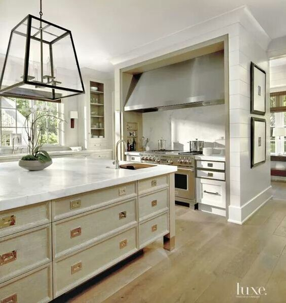 Love the stove nook and drawers on the island