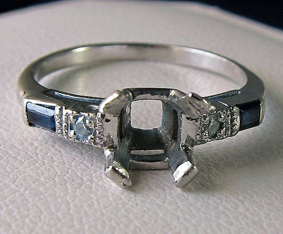 Antique Platinum Diamond Sapphire Baguette by BellaJewelryShop, $575.00