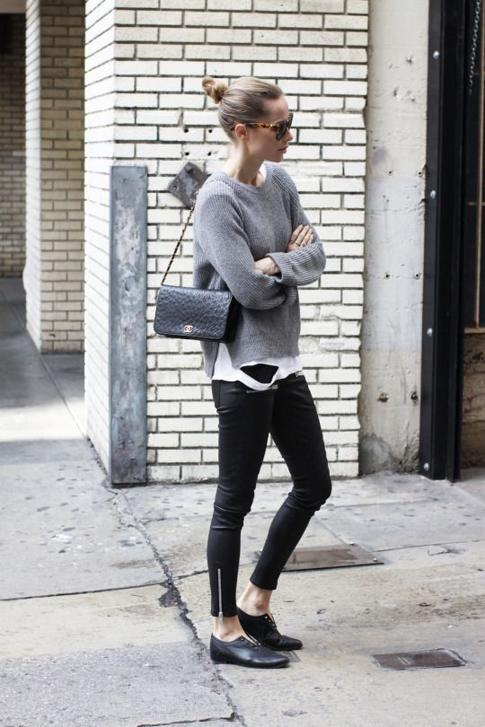 black jeans, gray sweater, white button up, black purse, black flat shoes